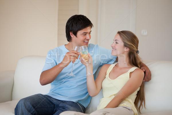 カップル ワイン リビングルーム 幸せ ストックフォト © wavebreak_media
