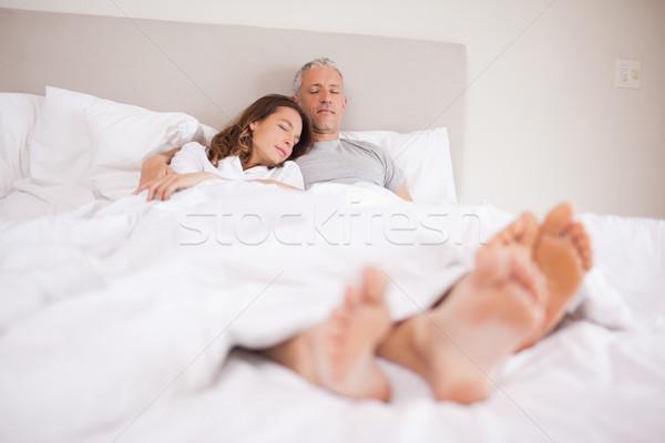 пару спальный спальня улыбка лице Сток-фото © wavebreak_media