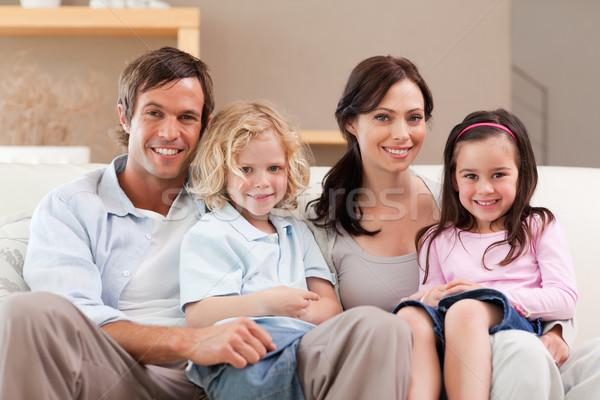 Сток-фото: Cute · семьи · Смотря · телевизор · вместе · гостиной · домой