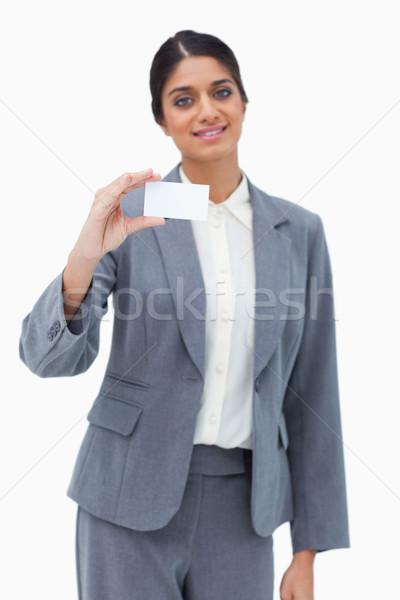 Verkoopster presenteren visitekaartje witte business papier Stockfoto © wavebreak_media