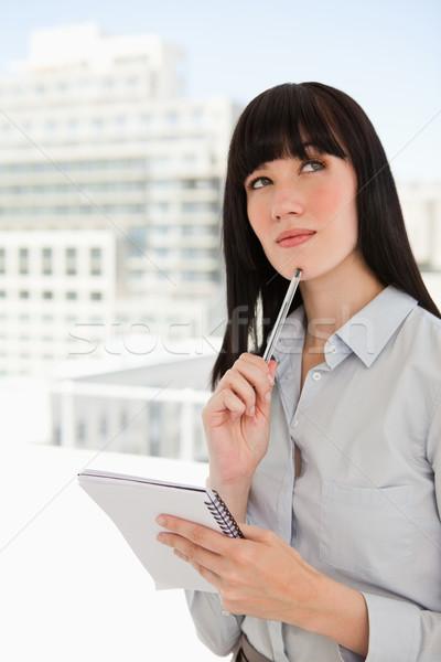 Stockfoto: Vrouw · kantoor · notepad · pen · kin