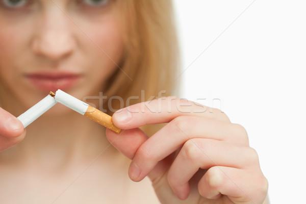 рук женщину сигарету белый курение Сток-фото © wavebreak_media