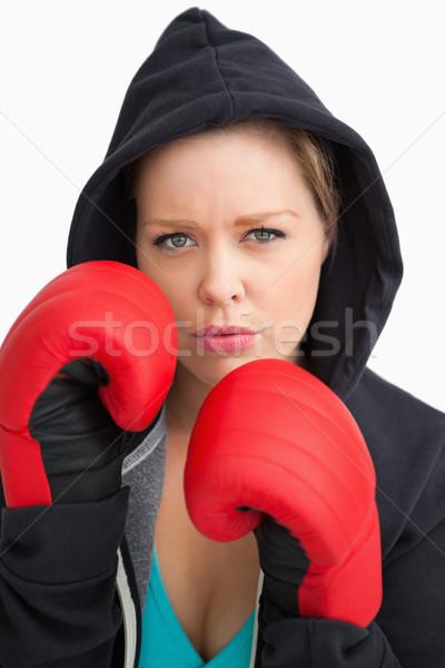 Vrouw tonen bokshandschoenen witte sport gezondheid Stockfoto © wavebreak_media