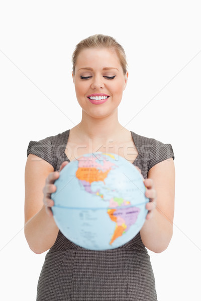 Mulher bonita globo branco mãos feliz Foto stock © wavebreak_media