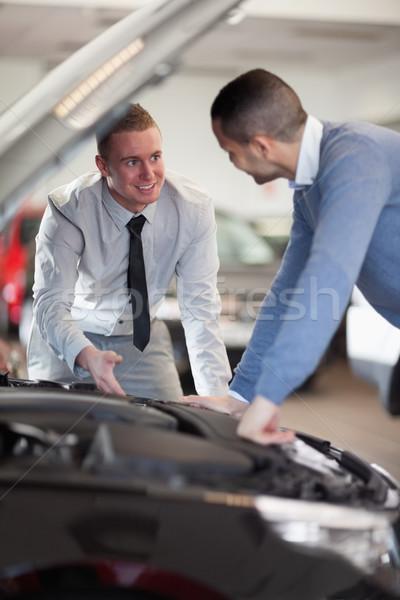 二人の男性 見える 車 エンジン ショップ 幸せ ストックフォト © wavebreak_media