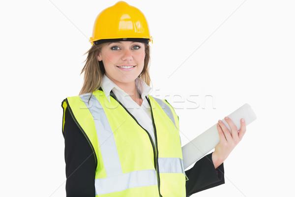 Weiblichen Architekt halten Plan lächelnd glücklich Stock foto © wavebreak_media
