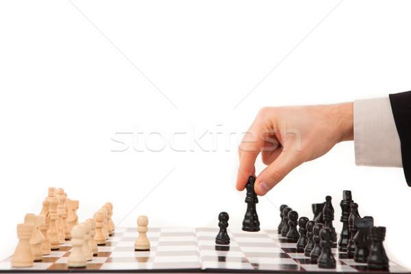 Mano movimiento negro blanco ajedrez traje Foto stock © wavebreak_media