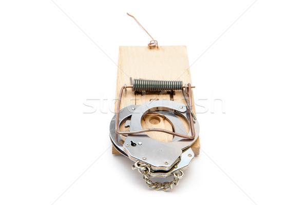 наручники белый объект серебро белом фоне Сток-фото © wavebreak_media
