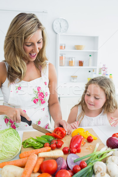 Smiling daughter watching her mother cutting vegetables Stock photo © wavebreak_media
