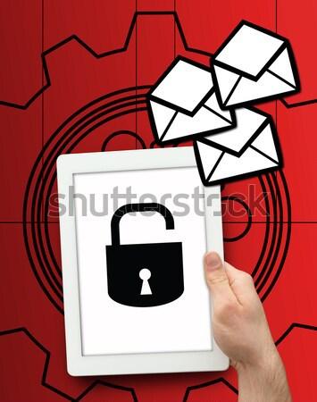 Tablet lock simbolo e-mail grafica Foto d'archivio © wavebreak_media
