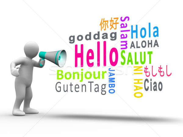 White figure revealing hello in different languages with a megap Stock photo © wavebreak_media