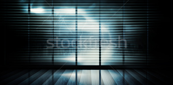Quarto grande janela olhando cidade urbano Foto stock © wavebreak_media