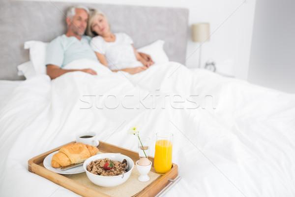 Pár ül ágy reggeli előtér elmosódott Stock fotó © wavebreak_media