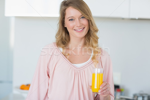 Kadın portakal suyu mutfak portre genç kadın ev Stok fotoğraf © wavebreak_media