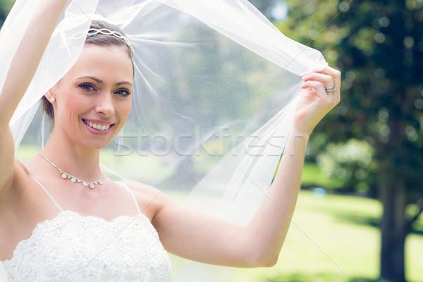 Gelukkig jonge bruid tuin portret vrouw Stockfoto © wavebreak_media