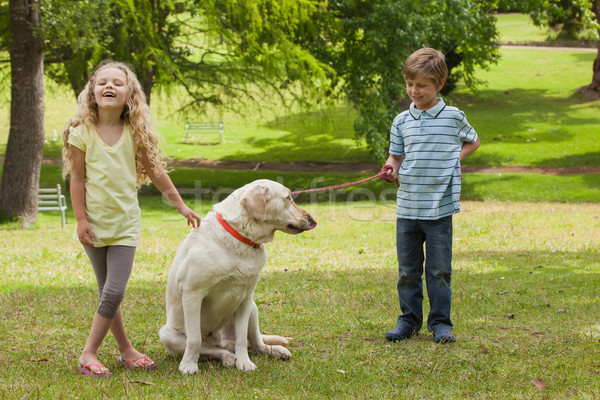 Two happy kids with pet dog at park Stock photo © wavebreak_media