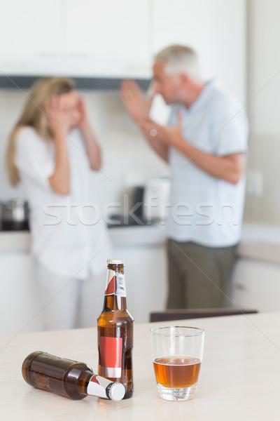 Mérges pár veszekedik iszik alkohol otthon Stock fotó © wavebreak_media