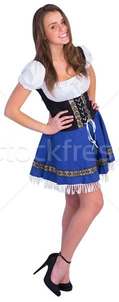 オクトーバーフェスト 少女 笑みを浮かべて カメラ 白 幸せ ストックフォト © wavebreak_media