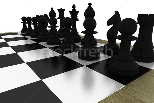 Black chess pieces on board Stock photo © wavebreak_media