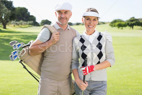 Golf çift gülen kamera yeşil Stok fotoğraf © wavebreak_media