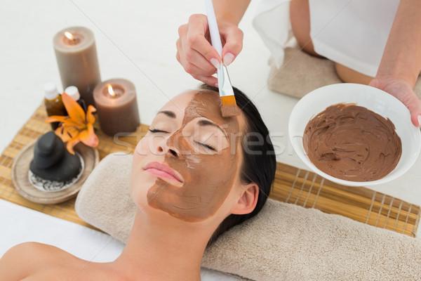 Békés barna hajú sár gyógyfürdő nő boldog Stock fotó © wavebreak_media