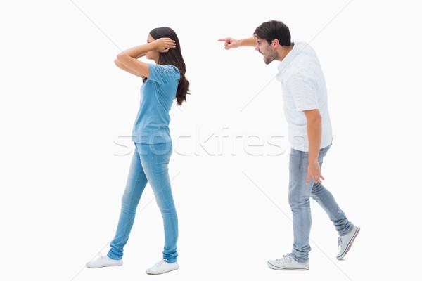 Mérges fiúbarát kiált barátnő fehér pár Stock fotó © wavebreak_media