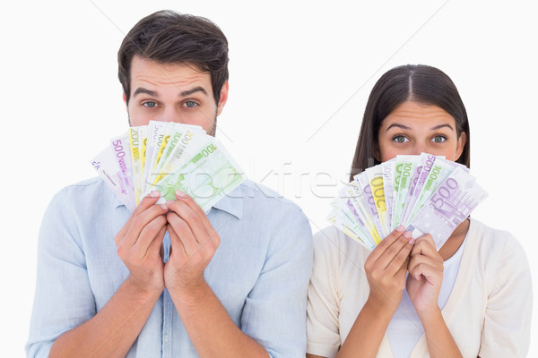 Mutlu çift para beyaz finanse Stok fotoğraf © wavebreak_media