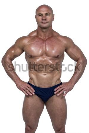 Foto stock: Muscular · homem · óculos · de · sol · retrato · sem · camisa
