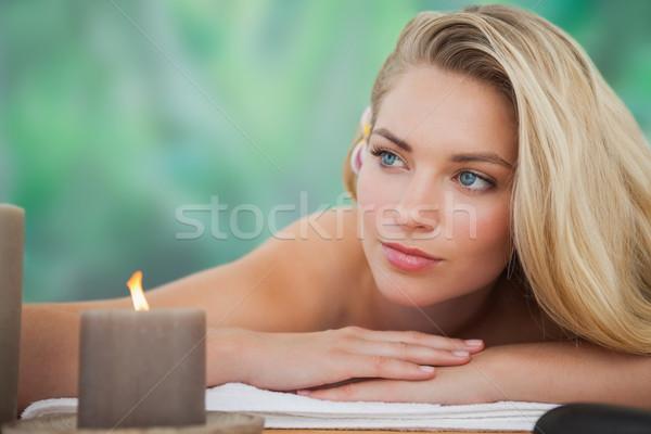 мирный блондинка полотенце свечу улыбка Сток-фото © wavebreak_media