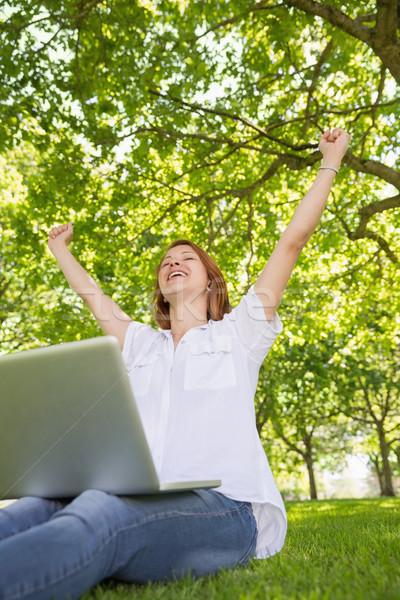 Joli utilisant un ordinateur portable parc Photo stock © wavebreak_media