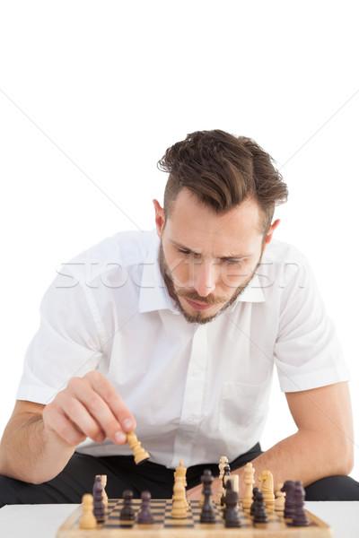 Centrado empresario jugando ajedrez negocios moda Foto stock © wavebreak_media