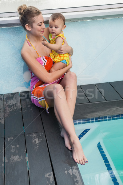 Pretty mother and baby at the swimming pool Stock photo © wavebreak_media