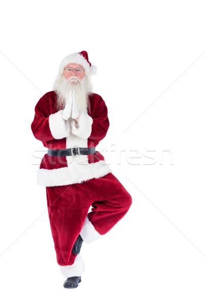 Ojciec christmas jogi biały człowiek mężczyzna Zdjęcia stock © wavebreak_media