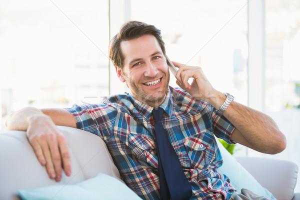 Stockfoto: Vrolijk · man · vergadering · bank · telefoongesprek