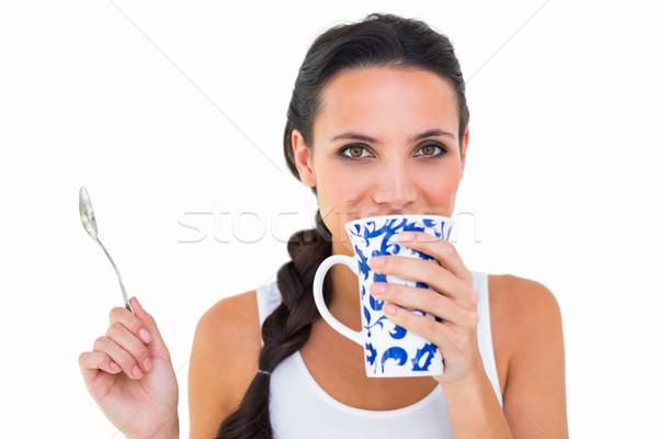 Csinos barna hajú csésze tea fehér boldog Stock fotó © wavebreak_media