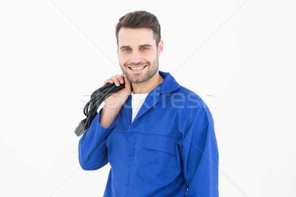 Glimlachend kabel portret witte Stockfoto © wavebreak_media