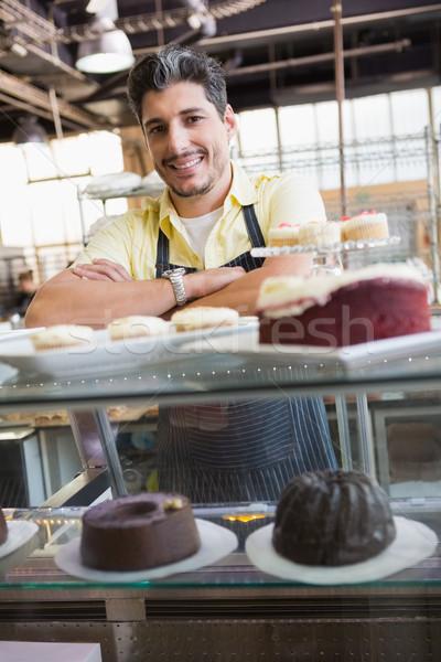 Handsome worker posing on the counter Stock photo © wavebreak_media