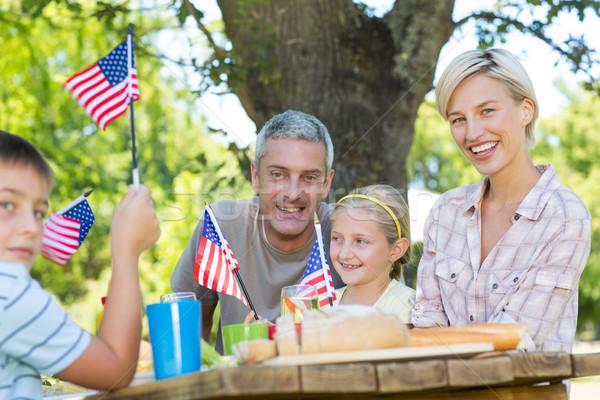 Foto stock: Família · feliz · piquenique · bandeira · americana · mulher