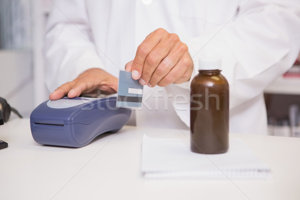 Farmacista carta di credito farmacia medici tecnologia Foto d'archivio © wavebreak_media