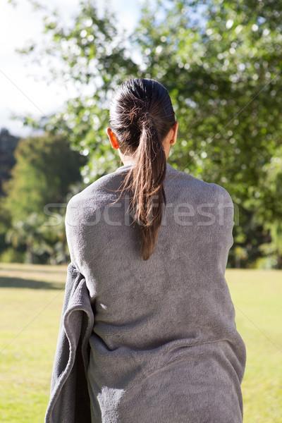 Güzel kadın battaniye doğa yaz yeşil Stok fotoğraf © wavebreak_media