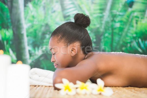 Foto stock: Mujer · bonita · sal · atrás · spa · mujer