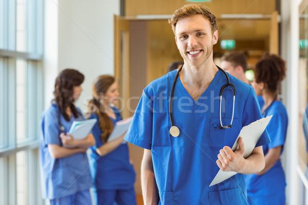 медик улыбаясь камеры университета школы счастливым Сток-фото © wavebreak_media