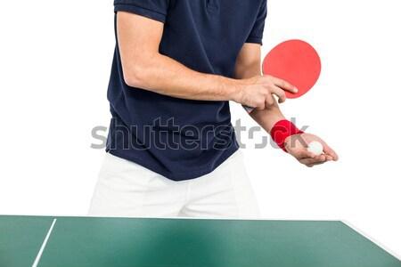 Composite image of female athlete playing ping pong Stock photo © wavebreak_media