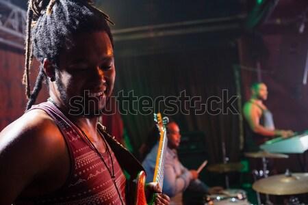 Gitarist oynama gitar sahne gece kulübü müzik Stok fotoğraf © wavebreak_media