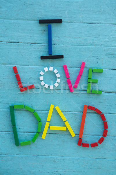 Multi colored i love dad text on table Stock photo © wavebreak_media