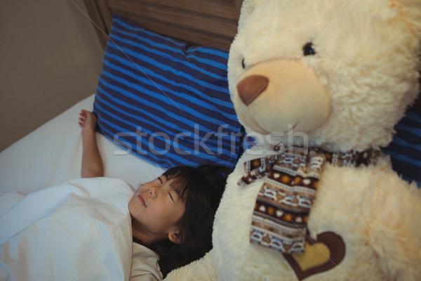 Lány alszik ágy hálószoba otthon számítógép Stock fotó © wavebreak_media