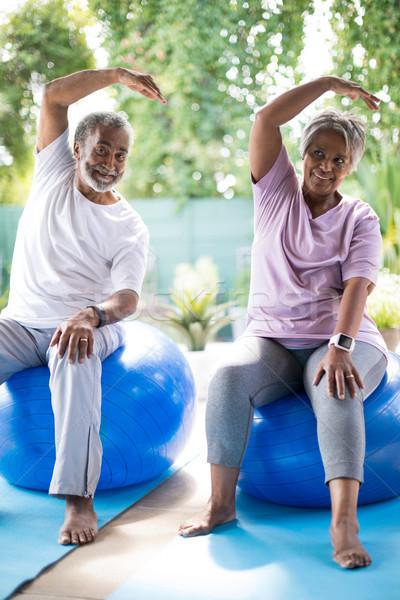 Full length of senior couple exercising in yard Stock photo © wavebreak_media