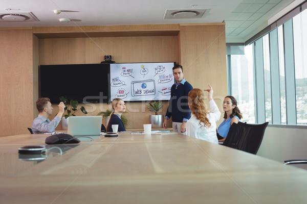 Business entrepreneurs discussing during meeting Stock photo © wavebreak_media