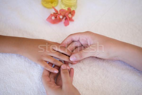 Weiblichen Therapeut Hand Junge weiß Stock foto © wavebreak_media