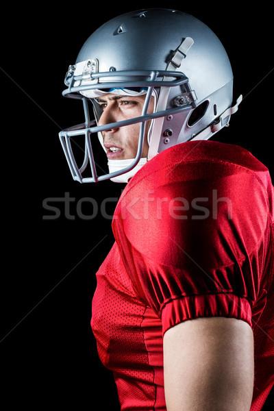 Oldalnézet amerikai futballista másfelé néz áll fekete Stock fotó © wavebreak_media
